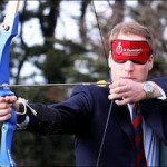 Prince William tries blindfold archery at new centre, Feb 2010